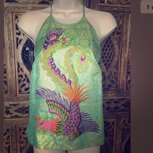 Patty Shelabarger Embroidered Open Back Silk Top S